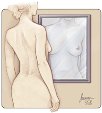 breast self-exam in mirror