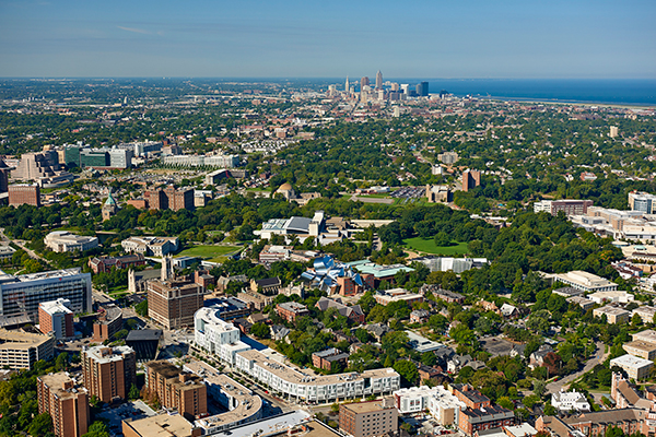 Ariel view of Case Western Reserve University campus and the city of Cleveland