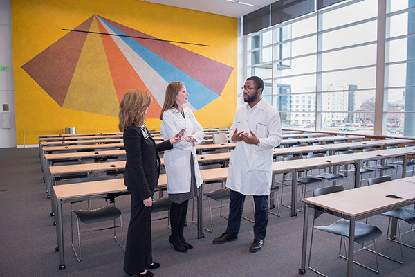 Author Jill Stefancin with Christine Warren, MD, and medical student Anthony Onuzuruike