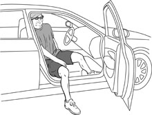 Getting into a car after a hip replacement