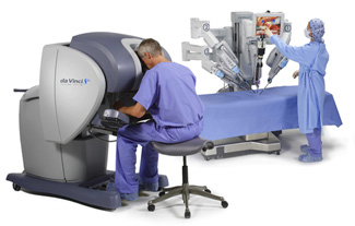 To perform robotic-assisted surgery, a surgeon is seated in front of a computerized console that provides a high-powered view of the operating area. Movement of robotic arms attached to surgical instruments is controlled by the surgeon seated at the console a few feet away.