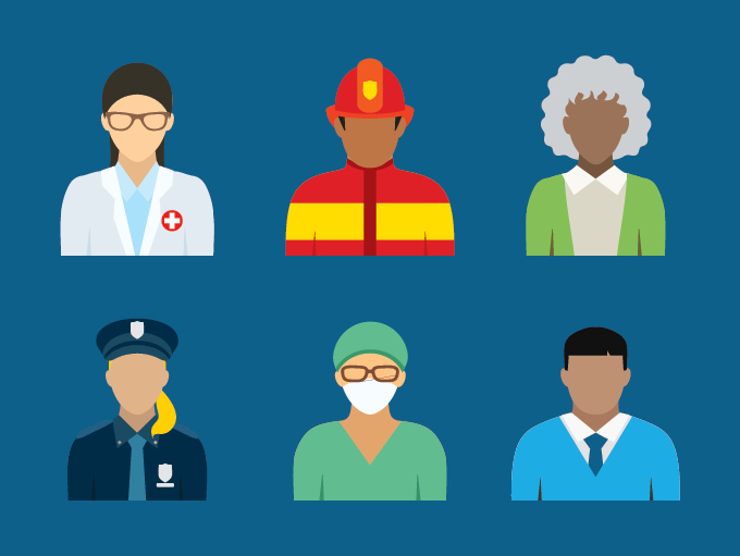 illustration of healthcare workers and first responders
