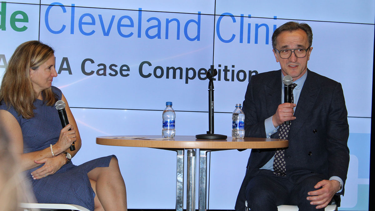 Tomislav Mihaljevic, MD, CEO & President and Gina Cronin, Executive Director of Global Leadership & Learning Institute, respond to questions from students during a Q& A session