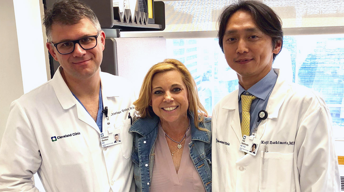 Carole Motycka with Dr. Quintini and Dr. Hashimoto.