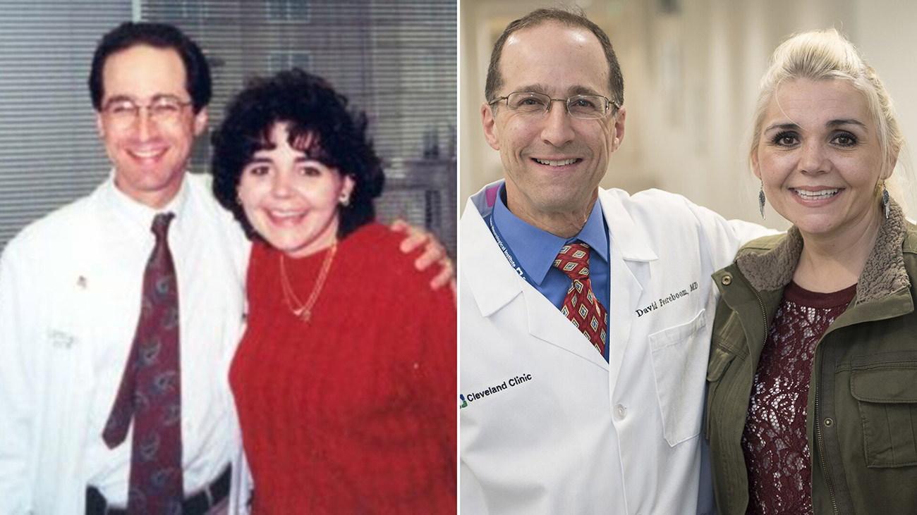 Dr. Peereboom and Rachel, after her first surgery, and again 18 years later.