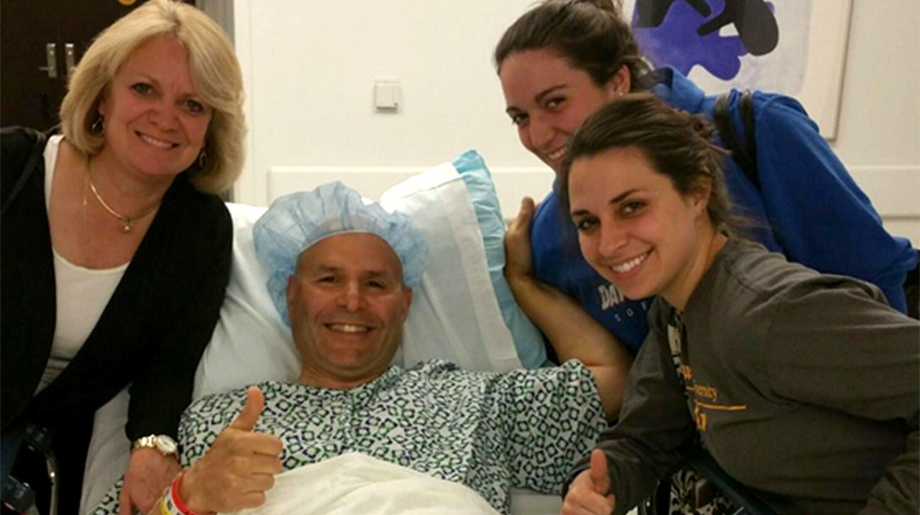 Jim, with his wife and two daughters, after receiving surgery at Cleveland Clinic. (Courtesy: Jim Mariano)