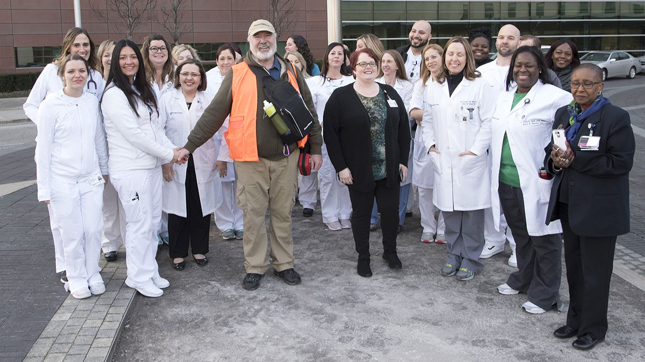 Gene kicked off his multi-state journey from Cleveland Clinic surrounded by members of the medical team who helped treat him. (Courtesy: Cleveland Clinic)