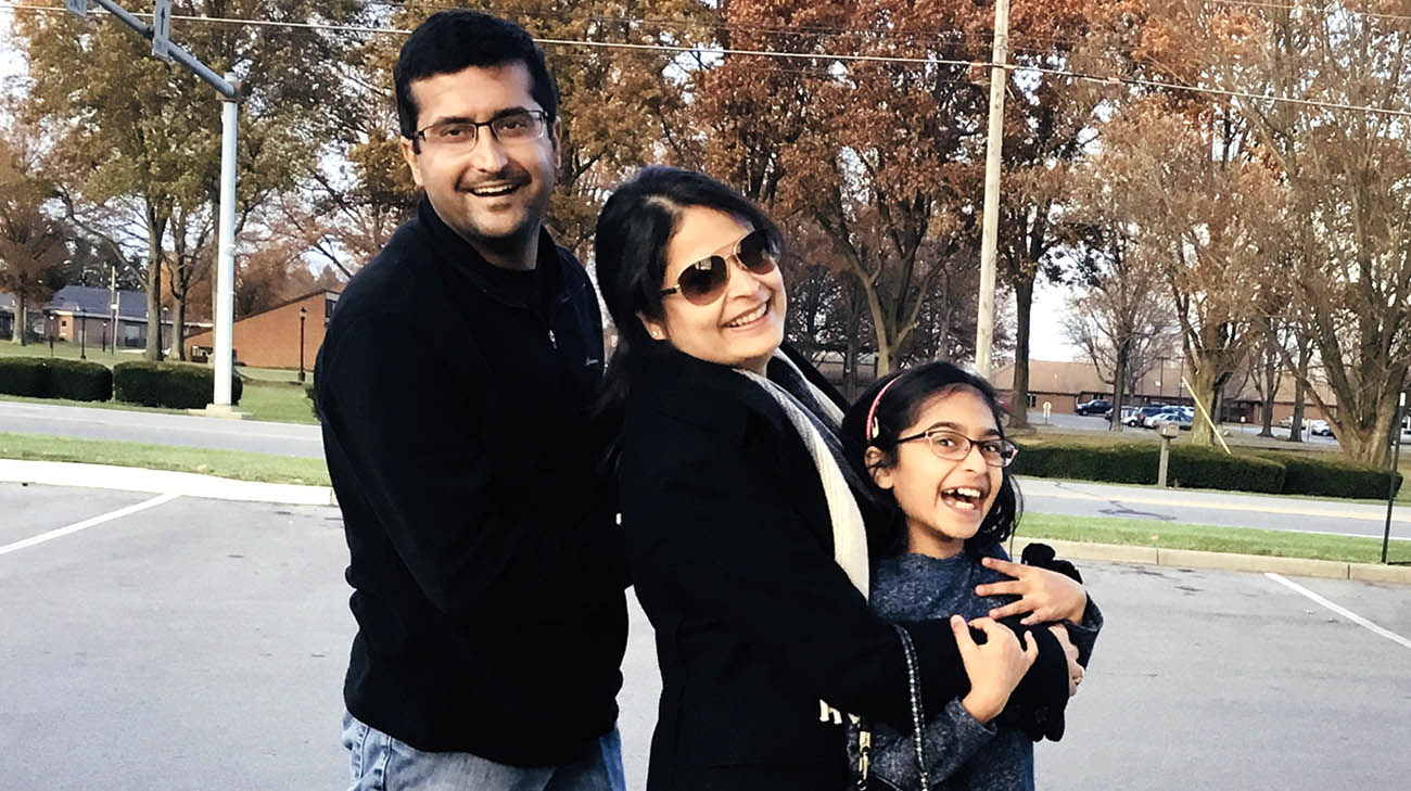 Lung transplant recipient Ajit Tolani with his wife and daughter.