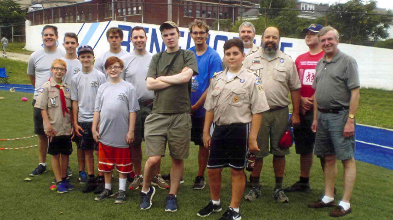 Timmy and his Boy Scout Troop organizing a field day at Lerner School for Autism. (Courtesy: Ed Hargate)