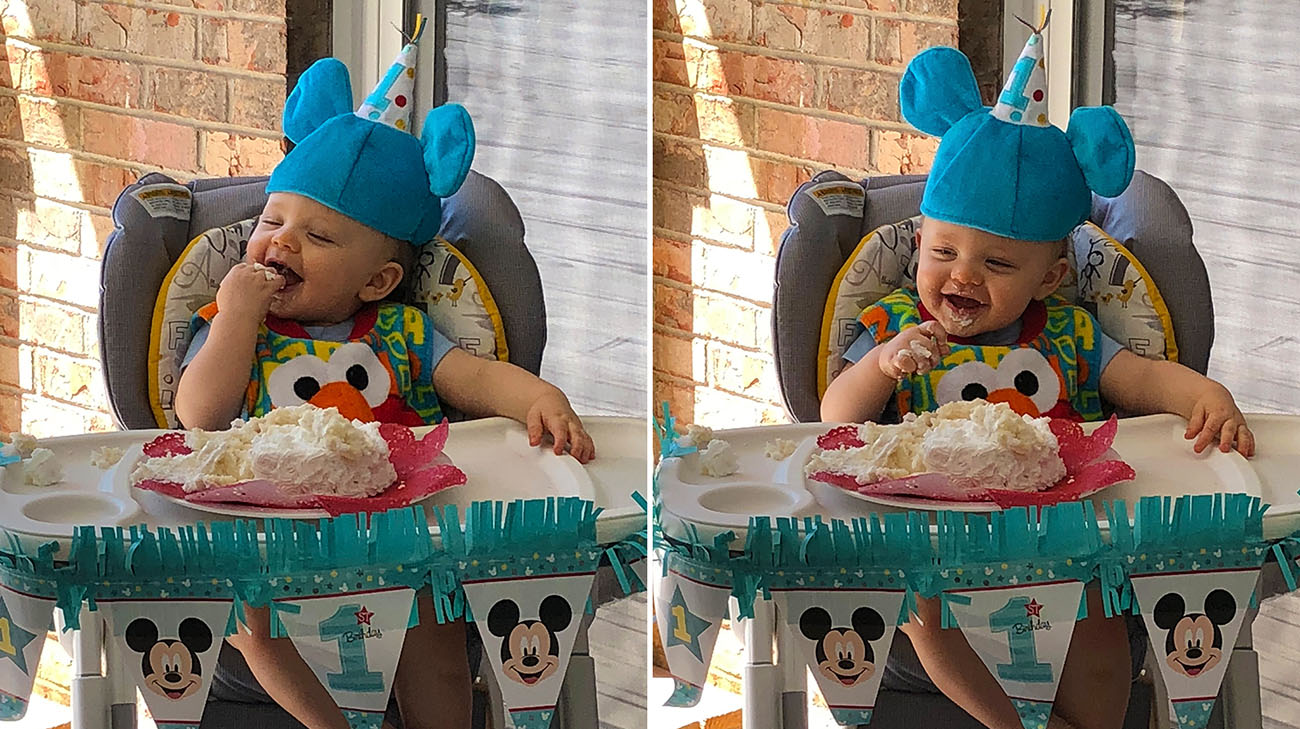 Wesley enjoying cake at his first birthday party at home. (Courtesy: Chris Chase)