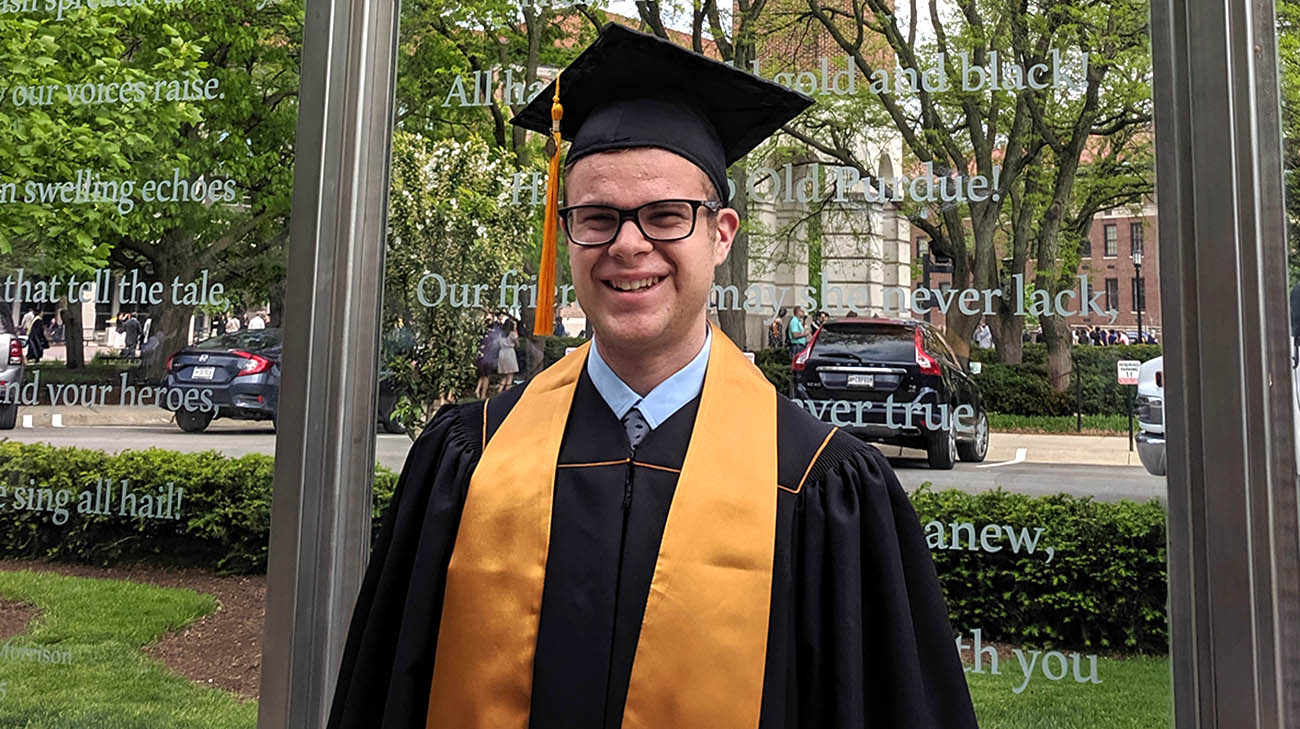 Jordan Pitlor, Cleveland Clinic Children's NICU patient, graduates from Purdue University.