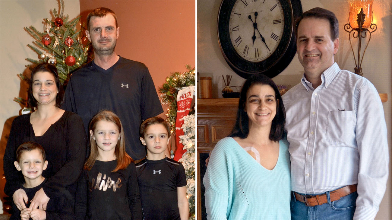Left: Amanda with her husband and three kids. Right: Amanda with her dad, Jim. (Courtesy: Amanda Egli)