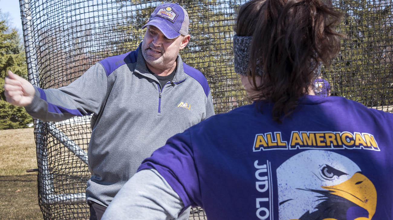 Jud Logan during track and field practice at Ashland University.