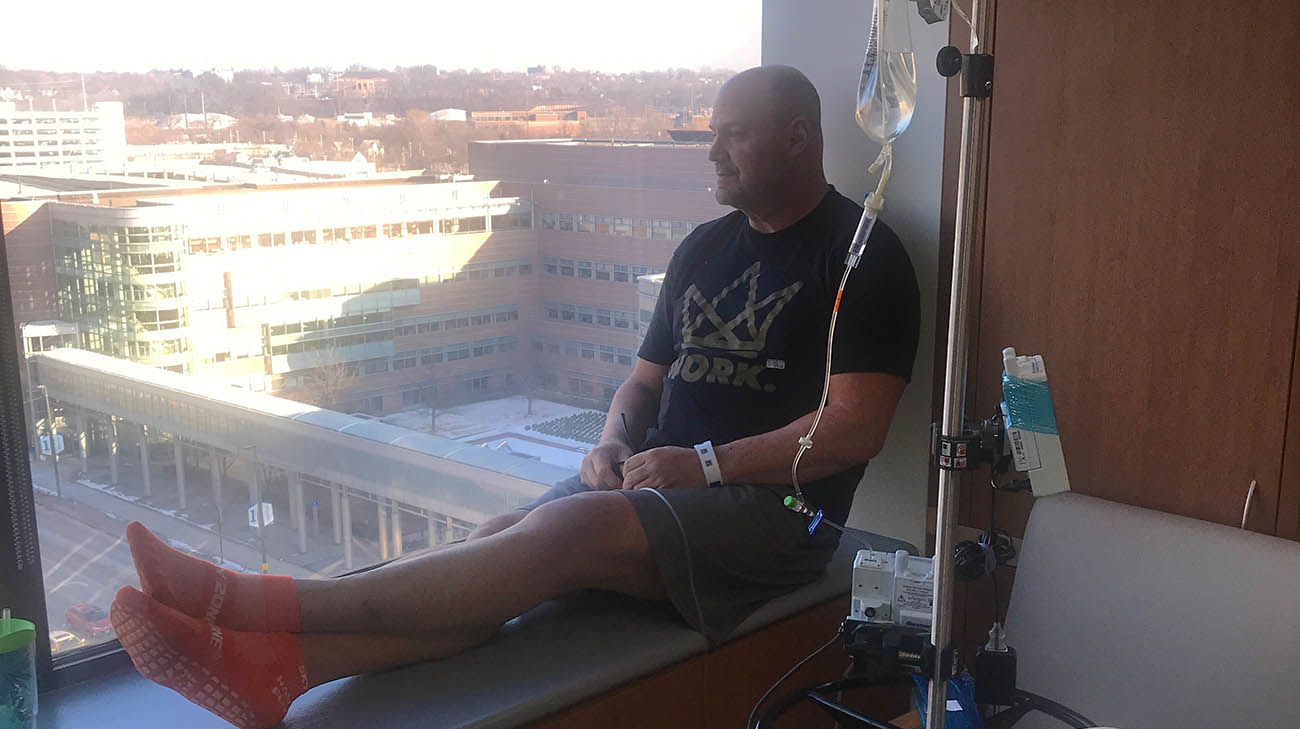 Jud Logan receiving chemotherapy treatment for leukemia at Cleveland Clinic Cancer Center.