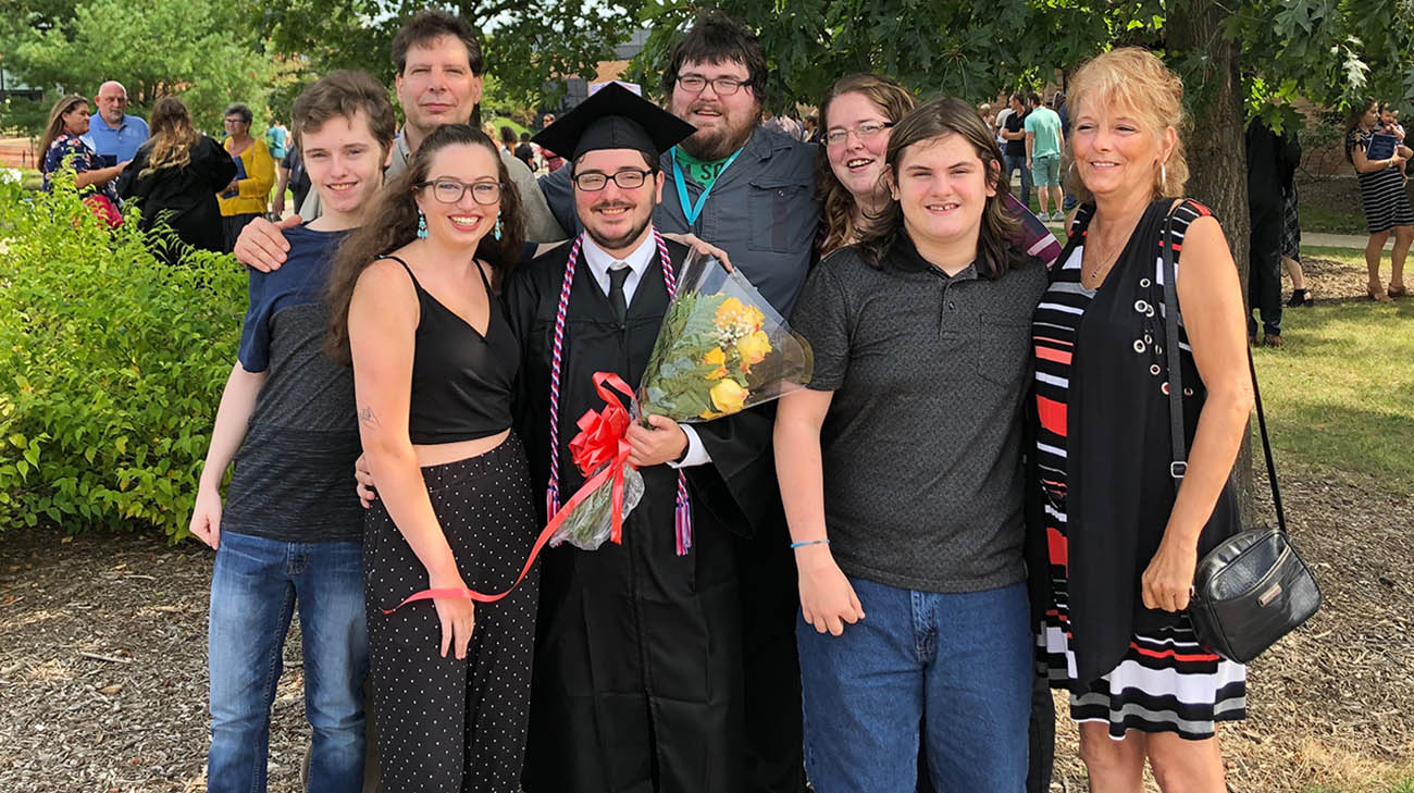 Nick Hunter with family and friends after he graduated from Kent State University.