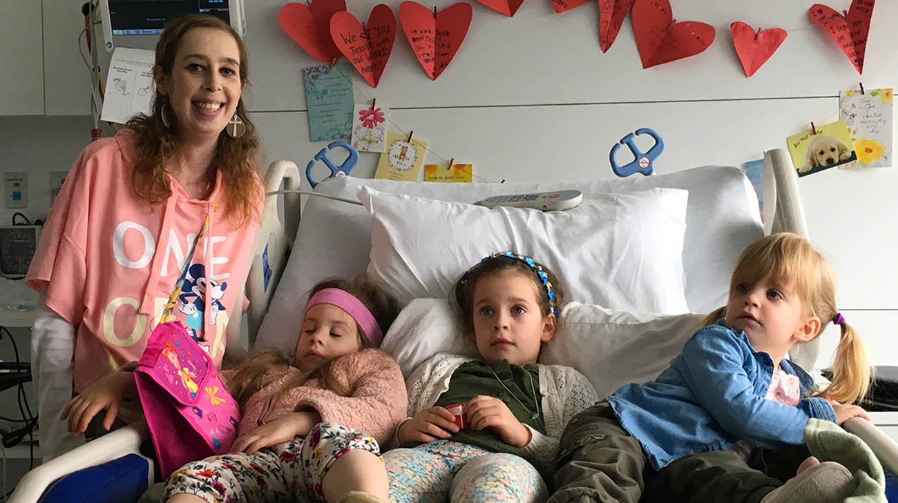 Jessica, with her nieces, while receiving treatment for her heart condition at Cleveland Clinic.