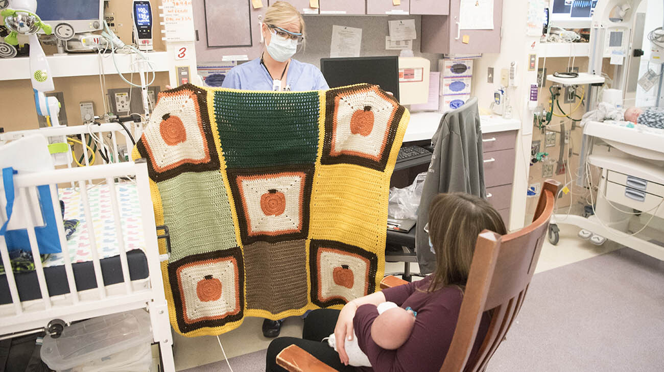 Jennifer, one of Patrick's primary nurses, gave the family a crocheted baby blanket. (Courtesy: Cleveland Clinic)