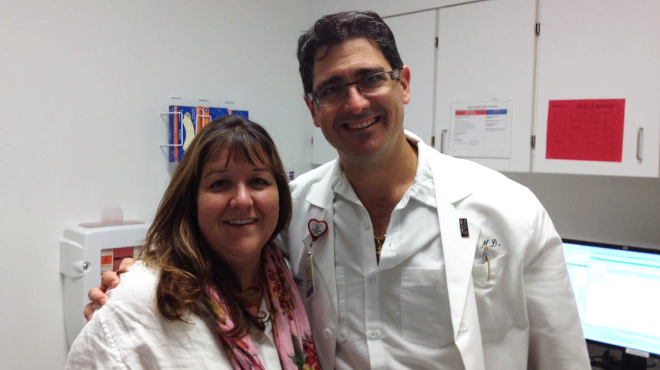 Tammie and Dr. Eric Roselli, during one of her follow-up appointments at Cleveland Clinic.
