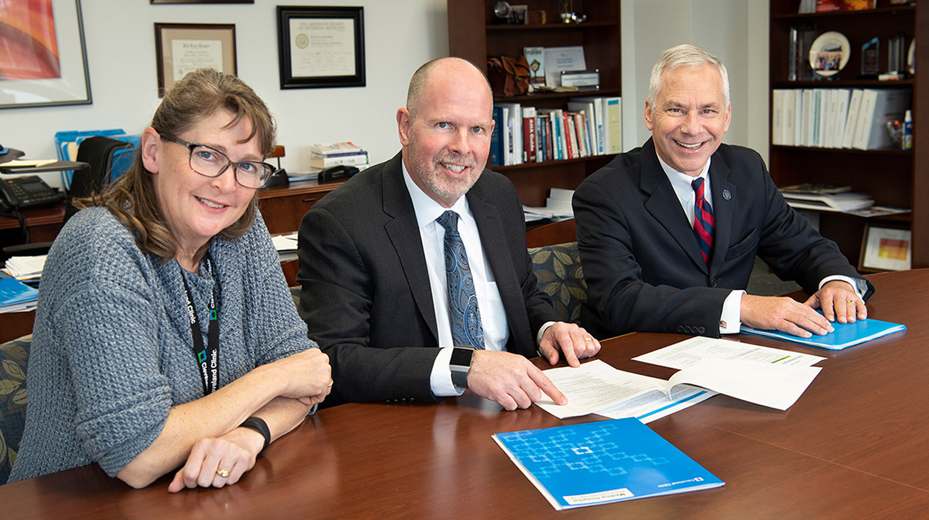 'Healthy Medina' is a countywide effort to encourage healthy choices.  Pictured, left to right, are: Sarah Arend, program manager, regional government and community relations, Cleveland Clinic Medina Hospital; Richard Shewbridge, MD, President, Medina Hospital, and Medina Mayor Dennis Hanwell.