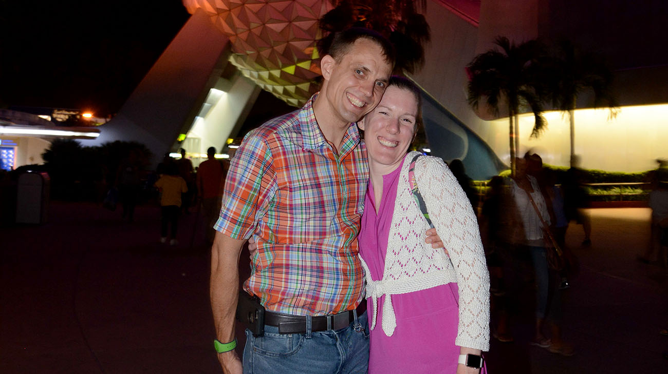 Annie and her husband Sven enjoying a night out in Epcot Center during their family vacation. (Courtesy: Annie Shreiber)