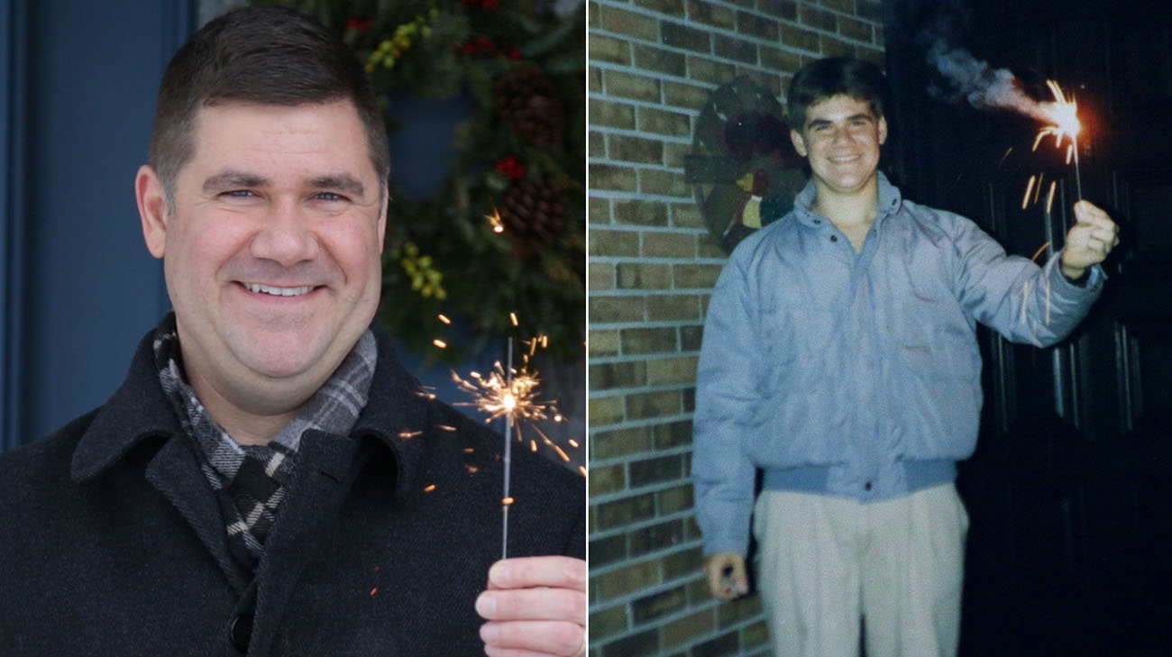 Ryan lights a sparkler every year on the anniversary of his heart transplant. (Courtesy: Ryan Zinn)