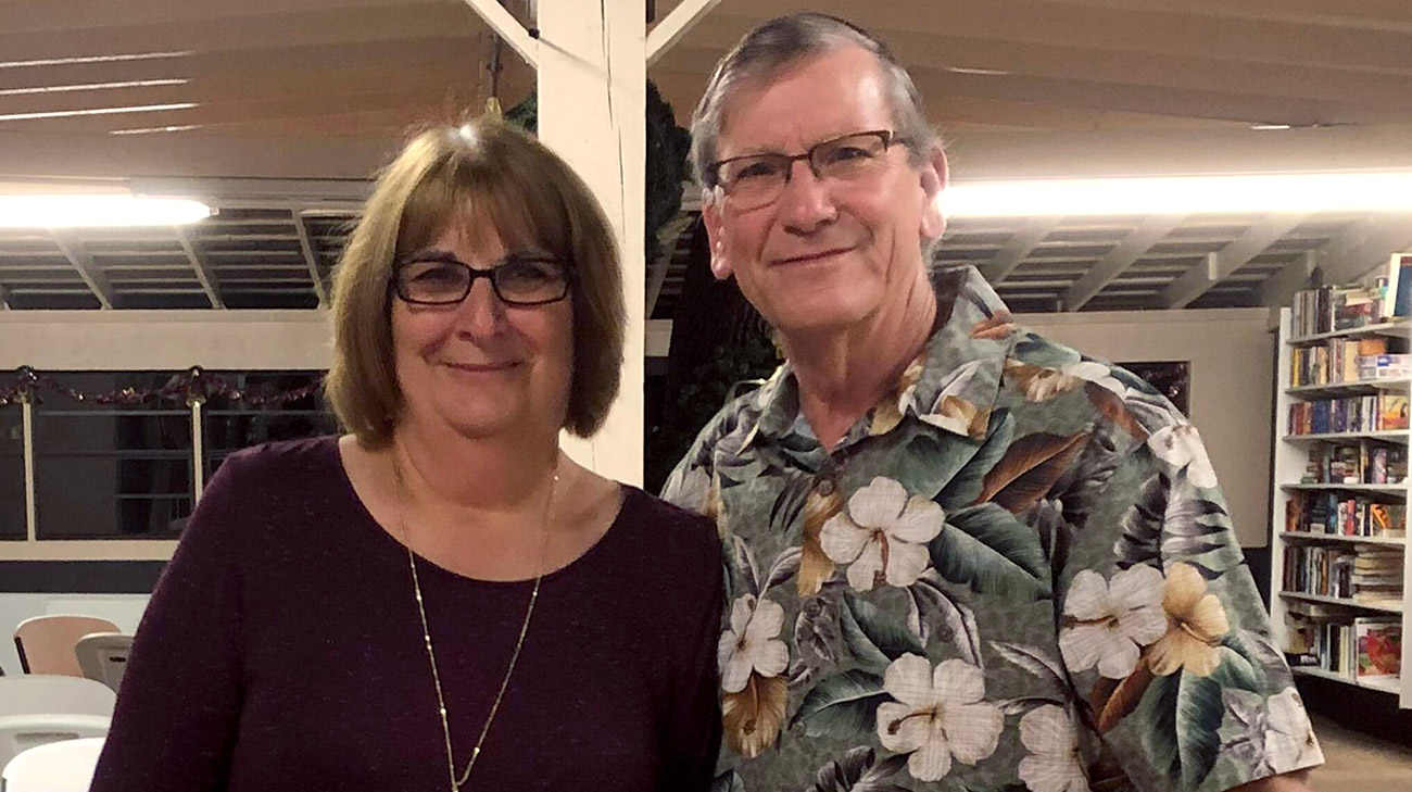 Jane and her husband, Bud, after a dinner back home, in Fort Pierce, Florida. (Courtesy: Jane Dennington)