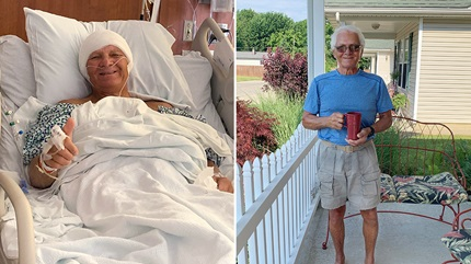 Carl Hanzelka pictured left in the hospital and right after recovering from his surgery at Cleveland Clinic