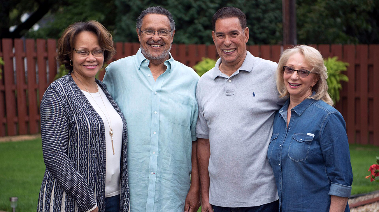 Rick and his wife Kathie (left) and Frank Perez and his wife Jo-Rita (right)