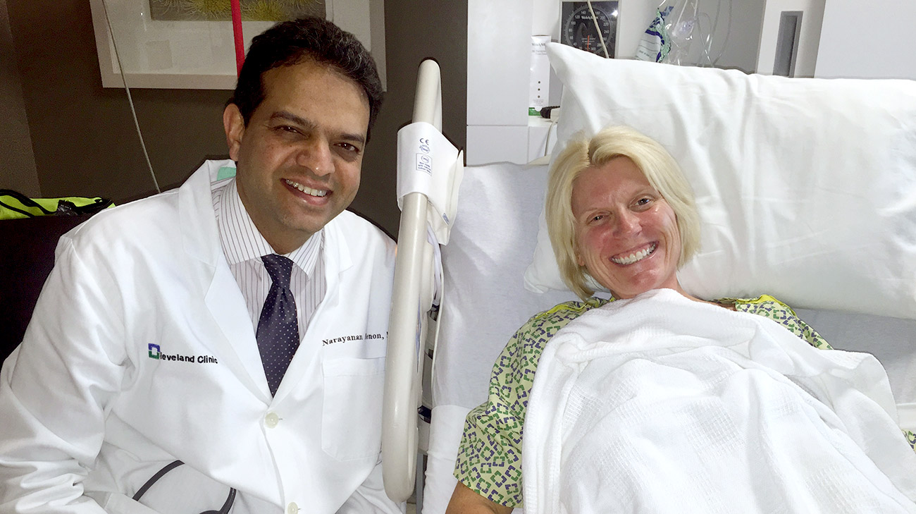 Mindy with Dr. Menon, Medical Director of Liver Transplantation, Cleveland Clinic.