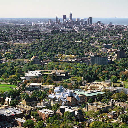 An aerial view of the Case Western Reserve campus and Cleveland