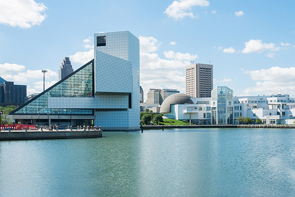 Cleveland's Rock and Roll Hall of Fame (left) and Great Lakes Science Center (right)